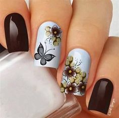 Película Modelo Floral/Borboleta Grey Nail Designs, Beautiful Nail Designs, Gorgeous Nails, Pretty Nails, Spring Nails, Summer Nails, Flower Nail Art, Manicure And Pedicure, Christmas Nails