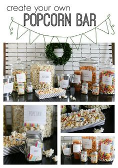 Create your own popcorn bar - with free printables for labeling. Perfect for any size party! Great for a backyard movie night! Popcorn Bar, Popcorn Station, Popcorn Stand, Grad Parties, Birthday Parties, 15 Birthday, Slumber Parties, Backyard Movie Party, Wedding Backyard