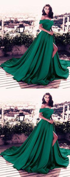 Dark Green Satin Long Formal Evening Dresses V-neck Off-the-shoulder Prom Dresses 2018 Sexy M1111