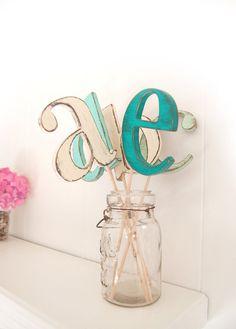 custom wedding wood cake topper monogram rustic letter decoration vintage You Choose Color and Letter. $28.00, via Etsy.