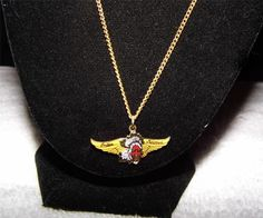 "Men's Gold Tone Necklace with ""indian motorcycle"" pendant EA29"