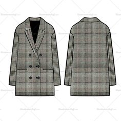 Fashion Flat Vector Template Sketch Unisex of a double breasted elongated blazer. All sketches are CADed up and the outside strokes are connected for an easy color swatch or pattern drop in.