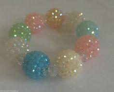 "Pastel Beaded Bracelet Stretch Disco Bead Spring Summer Fits 5-7"" Ladies Wrist  #Handmade #BeadedStrand"