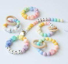 Rainbow teether silicone teether wooden teething ring