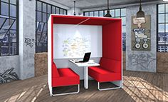 Cube - A cocoon office pod by Creatif. Get creative in a confined space with acoustic absorbing panels, a whiteboard for scribbling ideas and table for work space. The perfect place to relax or work.