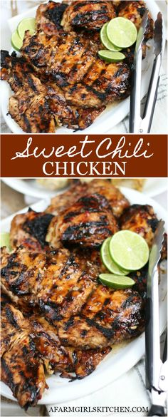 Sweet Chili Chicken is sweet and spicy with flavors of garlic, fresh ginger, soy, and sweet chili sauce. This easy chicken marinade is perfect for a lighter dish in summer. Easy Chicken Marinade, Grilled Chicken Recipes, Easy Chicken Recipes, Turkey Recipes, Meat Recipes, Dinner Recipes, Healthy Recipes, Bbq Dinner Ideas, Recipies