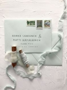 Light pastel green envelopes for cute spring or summer wedding with address lettering and silk ribbon #envelope #envelopes #forestgreen #weddinginvites #weddinginvitations #calligraphy #moderncalligraphy #hääkutsut #bröllopsinbjudan #häät2020 #luxurywedding #modernwedding #nordicwedding #minimalistwedding #bohowedding #havujahelmi Spring Wedding Invitations, Calligraphy Envelope, Pistachio Green, Envelopes, Place Card Holders, Sweet, Summer, Instagram, Summer Time