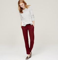"""A textured weave lends the subtlest hint of dimension to these classic pencil pants, impeccably tailored for a polished finish. Your perfect fit if your hips are proportionate to your waist. Zip fly with hook and bar closure. Belt loops. Slash pockets. Back button through welt pockets. 28"""" inseam."""