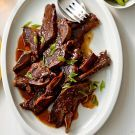 Try the Asian-Style Short Ribs Recipe on williams-sonoma.com Prepare these beef short ribs in a pressure cooker and dinner will be ready in just over 30 minutes. Ask your butcher for flanken-cut short ribs, which have been cut across the bone, rather than parallel to it (the latter are called English-style short ribs).