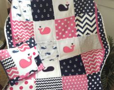 PINK/GREY NAUTICAL Quilt/Whale quilt/anchors by Lovesewnseams