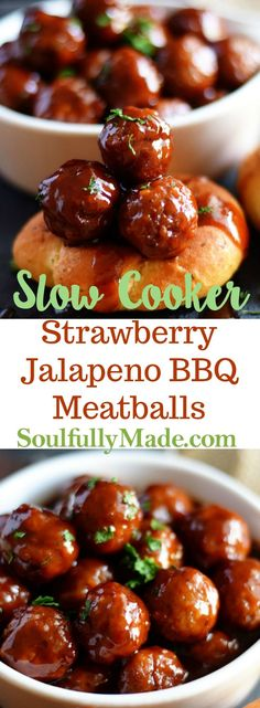 Slow Cooker Strawberry Jalapeno BBQ Meatballs Slow Cooker Strawberry Jalapeño BBQ Meatballs cooked in the crock pot with Jalapeno Pepper Jelly, Strawberry Jam and BBQ sauce to create a rich and tasty appetizer perfect for any party! Yummy Appetizers, Appetizers For Party, Appetizer Recipes, Party Snacks, Appetizer Crockpot, Tailgate Appetizers, Crock Pot Appetizers, Crockpot Party Food, Tailgating Recipes
