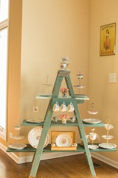 Vintage Cake Stands, Ladder Bookcase, Floral Arrangements, Centerpieces, Homemade, Create, Holiday Decor, Gifts, Collection