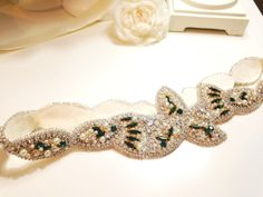 Custom Gold and Emerald Green Bridal Belt by HelenaNoelleCouture