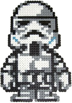 Stormtrooper Star Wars hama perler beads by Pixgraff. Use for cross stitch pattern! Perler Bead Designs, Hama Beads Design, Pearler Bead Patterns, Perler Patterns, Perler Beads, Perler Bead Art, Fuse Beads, Hama Perler, Beaded Cross Stitch