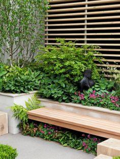 Plant Shade Loving Perennials Under Garden Bench.