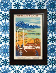 New Zealand Queenstown Travel Poster  3 by VintageUnitedStates, $7.00