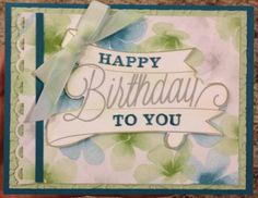 What a great Stampin' Up watercolor birthday card!  For more card ideas go to www.mybluebonnetcottage.com