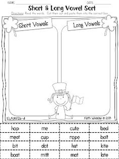 St. Patrick's Day - Short/Long Vowel Sort Freebie
