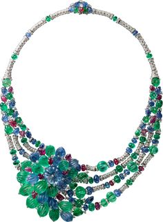 CARTIER. Necklace - white gold, one 26.21-carat cabochon sapphire bead from Burma, carved emeralds, sapphires and rubies, cabochon emerald, sapphire and ruby beads, brilliant-cut diamonds.