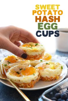 Sweet Potato Hash Egg Cups- •½ cup grated sweet potatoes (~1 small sweet potato) •¼ cup cheddar cheese •½ tablespoon garlic •8 large eggs •salt and pepper, to taste Instructions 1.Preheat oven to 375ºF and spray a muffin tin with coconut oil cooking spray. Alternatively, place paper liners in the muffin tin so clean up is easy! 2.Peel a medium sweet potato and use a cheese grater to grate potato. 3.Place ½ cup grated sweet potato, ¼ cup cheddar cheese, and ½ tablespoon minced garlic in a b