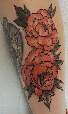 Peonies tattoo by Aimee Bray