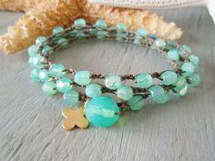 Surfer chic crochet 3x wrap bracelet necklace 2x by slashKnots, $47.00