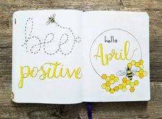 Bullet journal monthly cover page,  April cover page, bee drawing, honeycomb drawing. | @kenna.creates