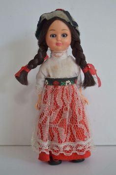 """Germany 6"""" doll folklore traditional open close eyes braids Schneider german #DollswithClothingAccessories"""