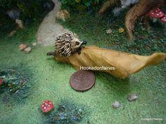 Miniature Garden Hedgehog on A Brown Leaf Dollhouse Fairy Faerie Hobbit Gnome | eBay