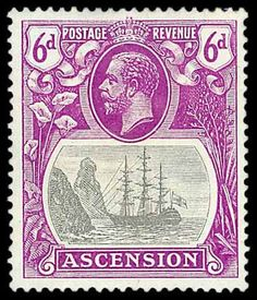 "1924-33 6d grey-black and bright purple var ""broken mainmast"", M. (SG 16a)"