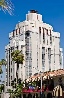 The Sunset Tower Hotel on West Hollywood's famed Sunset Strip was completed in 1931 using the Art Deco / Zig-Zag Moderne architectural style. Over the decades, it has served as the residence to such golden age movie stars such as Elizabeth Taylor, John Wayne and Mae West. The building is presumed to be one of the first luxury high-rise apartment buildings in the Los Angeles area. It's not unusual to see present day A-listers dining in the elegant Tower Bar restaurant.