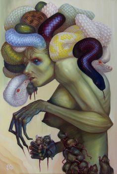 Bizarre Art, Creepy Art, Fantasy Creatures, Mythical Creatures, Illustrations, Illustration Art, Medusa Art, Medusa Tattoo, Snake Art