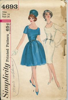 1960s Evening Dress Pattern Simplicity 4693 Misses Full or Sheath Skirt Shirred Fitted Midriff Bust 34 Womens Vintage Sewing Pattern.