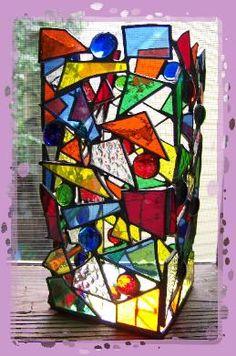 stained glass suncatcher vase
