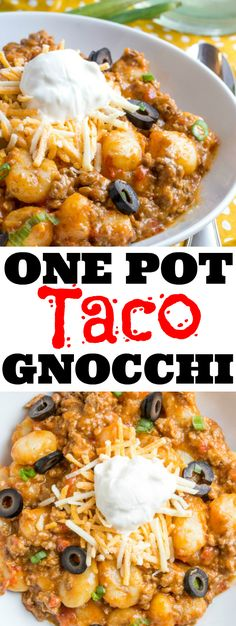 A fun twist on classic tacos this One Pot Taco Gnocchi is fast fix family favorite that will be the perfect addition to your weekly meal plan. ]