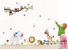 New Jungle Safari Animals Removable Baby Kids Wall Sticker Vinyl Decal Nursery