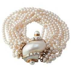 Regilla ⚜ ~ Pearl & Diamond Turbo Shell Bracelet