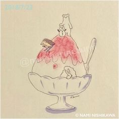 1495 かき氷 イチゴ味 shaved ice with strawberry sauce . Hedgehog Drawing, Hedgehog Art, Shaved Animals, Ice Drawing, Animal Doodles, Easy Drawings, Adorable Drawings, Embroidery Motifs, Inspirational Artwork