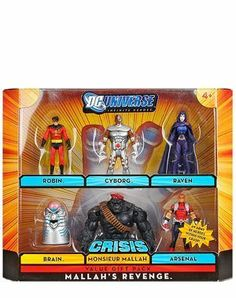 "DC Universe Infinite Heroes Crisis Exclusive Action Figure 6-Pack Mallah's Revenge (Robin, Cyborg, Raven, Brain. Arsenal and Monsieur Mallah) by Mattel. $47.95. This 6-pack includes 3 3/4 inch action figures of Robin, Cyborg, Raven, Brain, Monsieur Mallah and Arsenal. DC Universe Infinite Heroes Crisis 3 3/4"" action figure line from Mattel. For Ages 4 & Up. Leaping into action from their headquarters at Titan Tower comes an army of heroes all within your grasp. ..."