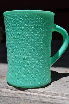 Vintage Glasbake Coffee Mug Turquoise by KitsVintageTreasures, $7.00