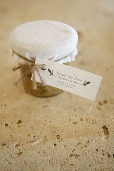 "Food wedding favor idea - ""Spread the love"" homemade spread in jars {Leslie Rodriguez Photography}"