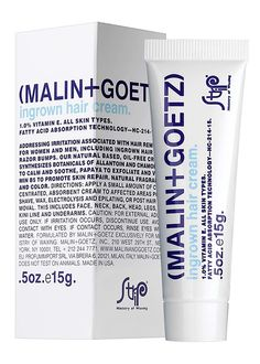 Malin + Goetz Ingrown Hair Cream Tackle ingrown hairs and razor bumps with this plant-based, oil-free ointment. Wonder-workers like papaya and pineapple naturally exfoliate the area, while vitamin repairs skin, and chamomile soothes any irritation. Ingrown Hair Cream, Ingrown Hair Bump, Exfoliating Gloves, Radiant Skin, Body Wash, Skin Care, Beauty Products, Beauty Tips, Real Beauty