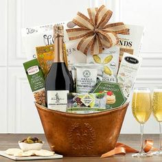 Wine Gift Baskets - Brut Wine Gourmet Gift Basket Wine Gift Baskets, Gourmet Gift Baskets, Gourmet Gifts, Show Appreciation, Wine Gifts, Goodies, Thanksgiving, Christmas, Wine Baskets
