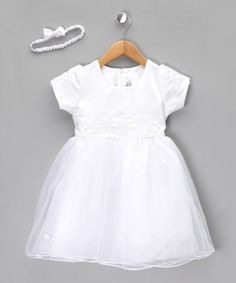 Take a look at this White Satin & Net Dress - Toddler & Girls by Couche Tot on #zulily today!