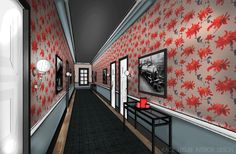 Narrow boutique hotel hallway is given more depth  with delineation between the lower painted walls and the upper spaces with red floral wall paper.  Black and white accessories integrate the space, elegant hall sconces and narrow black wrought iron and glass console tables offer a place to pause.