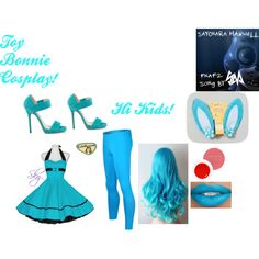 Toy Bonnie's Cosplay by fnaf-team142 on Polyvore featuring Jimmy Choo and Josie Maran