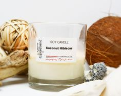 "Coconut Hibiscus scented soy candle creates strong perfume of sweet coconut with a touch of ocean breeze fragrance. It is a perfect setting for summer atmosphere. { DIMENSION & BURN TIME} + 2.75"" Diam"