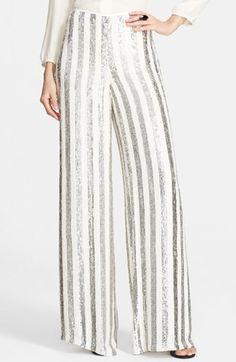 88bc34e0fe St. John Collection Sequin Stripe Wide Leg Pants available at  Nordstrom  Sequin Pants