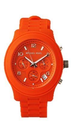 e2b68b938e533 Michael Kors Reloj De Silicona Naranja Resistente Al Agua