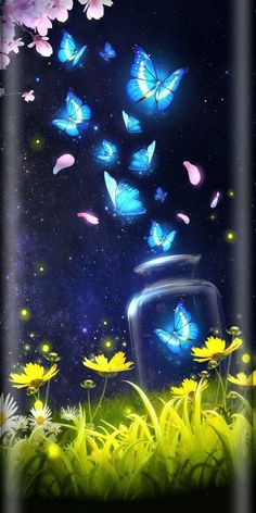 Shiny blue butterfly live wallpaper with starr… Android live wallpaper/background!Shiny blue butterfly live wallpaper with starry sky as background! Cute Wallpaper Backgrounds, Pretty Wallpapers, Galaxy Wallpaper, Wallpaper Pictures, Disney Wallpaper, Live Wallpapers, Flower Wallpaper, Iphone Wallpaper, Blue Butterfly Wallpaper